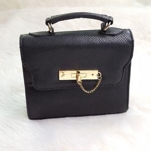 Nasty Gal Vegan Snake Skin Mini Clutch Bag Black
